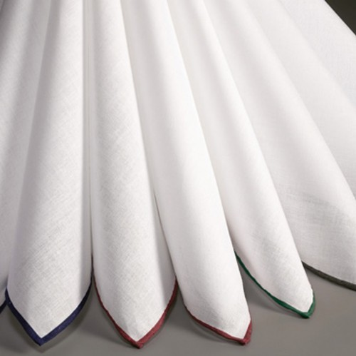 Lehner Herrentaschentücher MAKO BATIST mit farbigem Handrollsaum